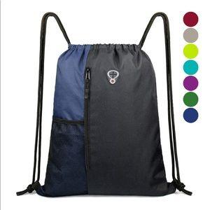 Large drawstring backpack with water bottle pocket